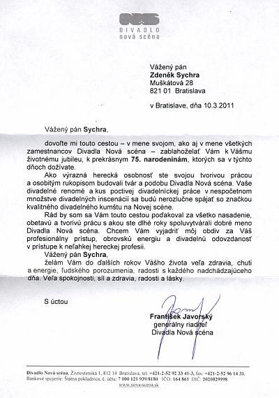 List riaditeľa NS k 75. narodeninám.